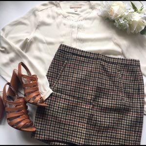J. Crew Wool Houndstooth Mini Skirt